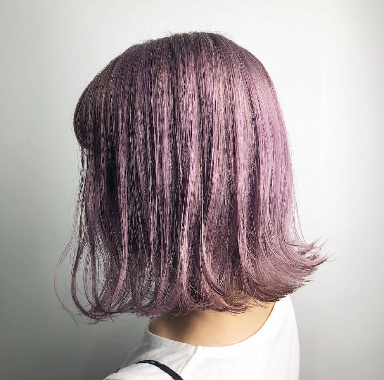 ラベンダーアッシュ ラベンダーピンク ストリート 外国人風カラーヘアスタイルや髪型の写真・画像