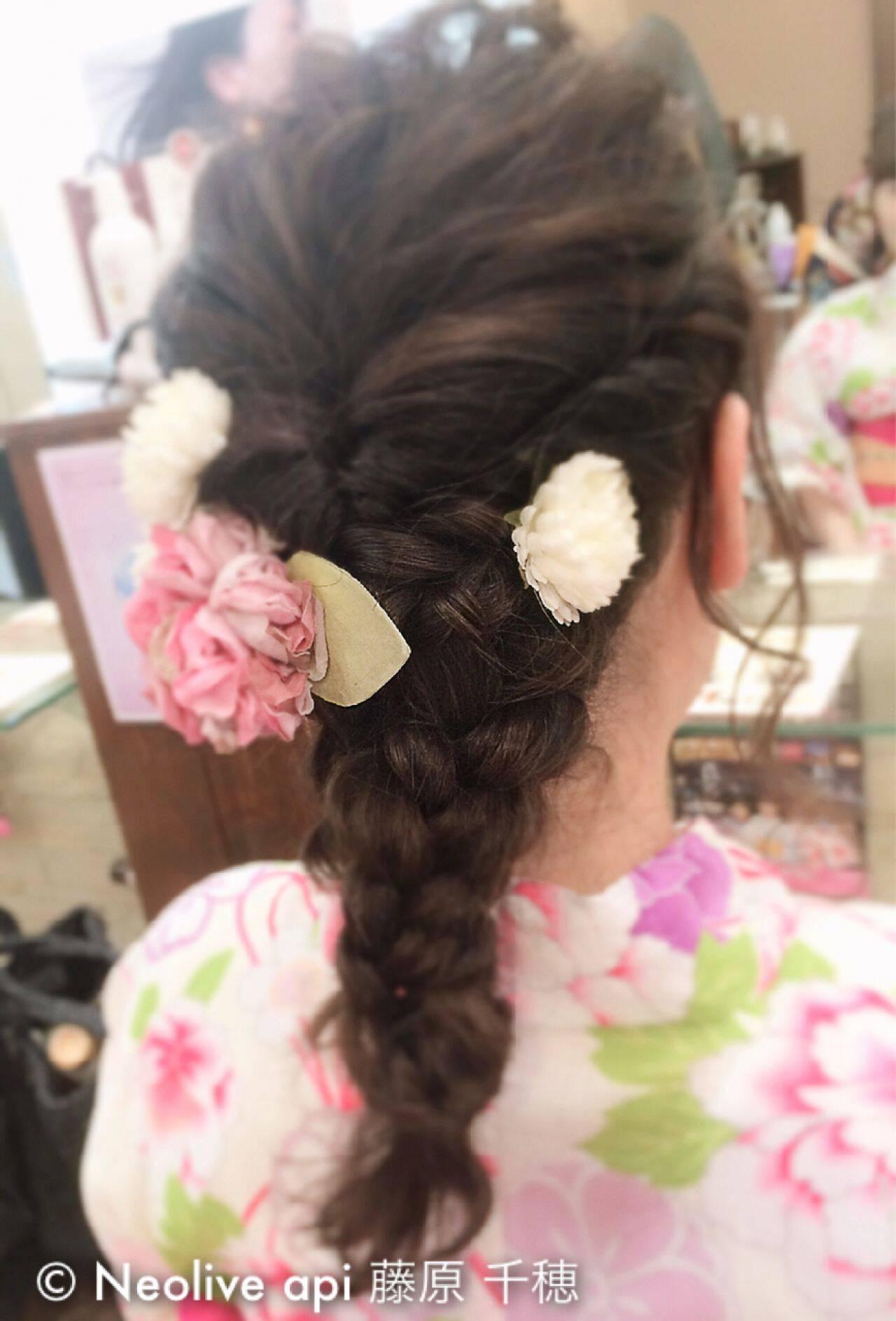 セミロング 夏 ガーリー お祭りヘアスタイルや髪型の写真・画像