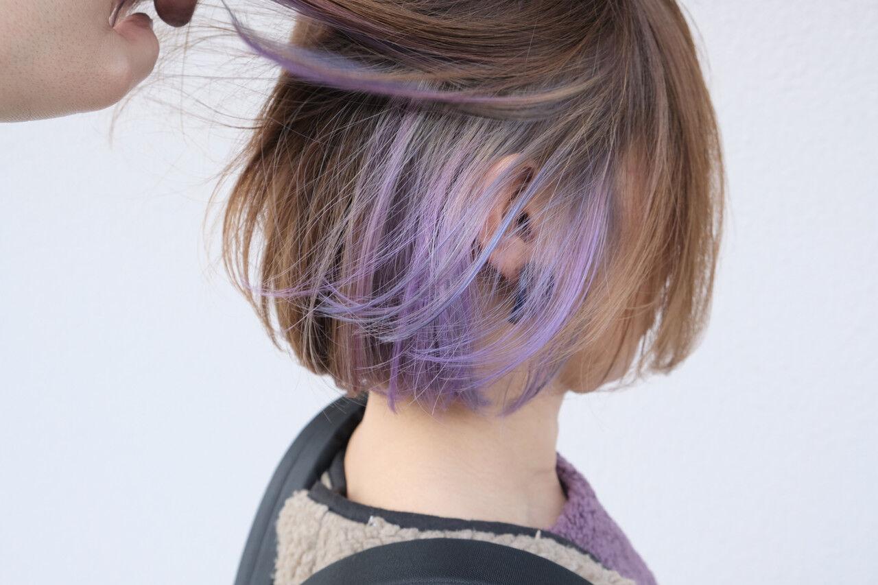 インナーカラー ブリーチカラー ストリート ボブヘアスタイルや髪型の写真・画像