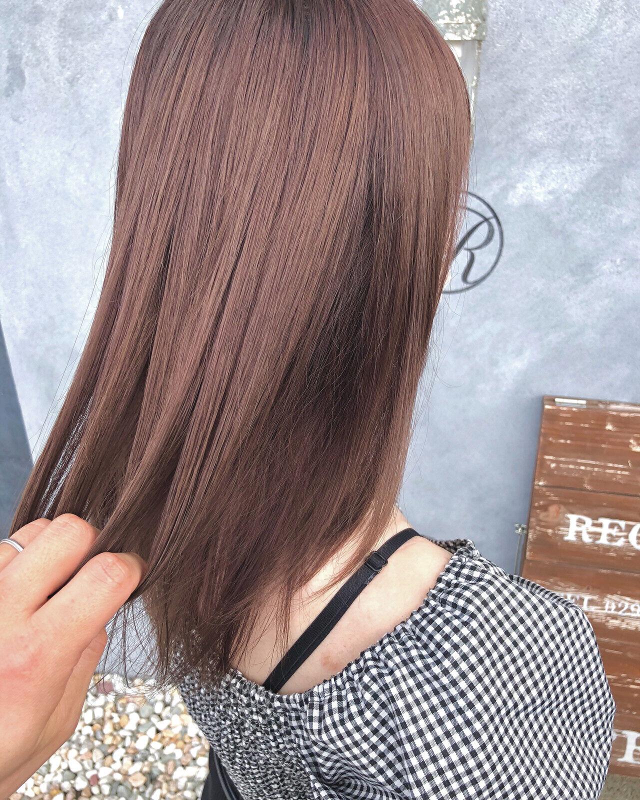 ガーリー ピンクベージュ ラズベリーピンク ピンクブラウンヘアスタイルや髪型の写真・画像