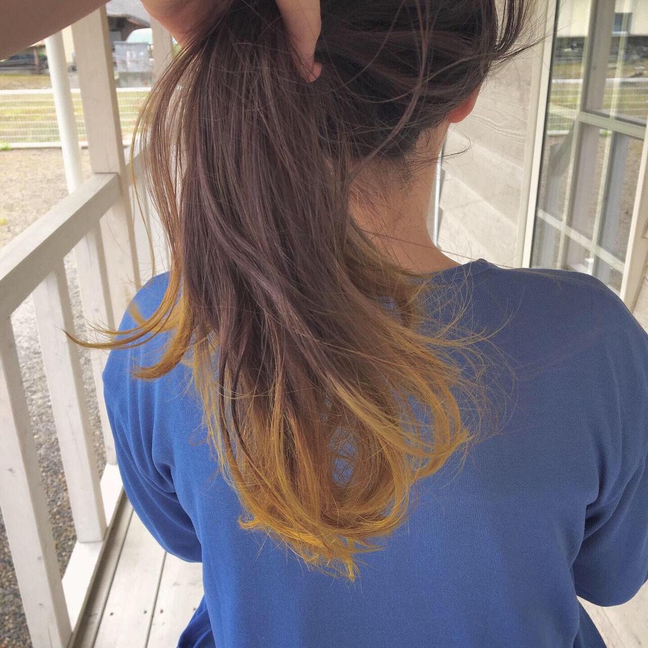 ロング ヘアカラー ブリーチカラー フェミニンヘアスタイルや髪型の写真・画像