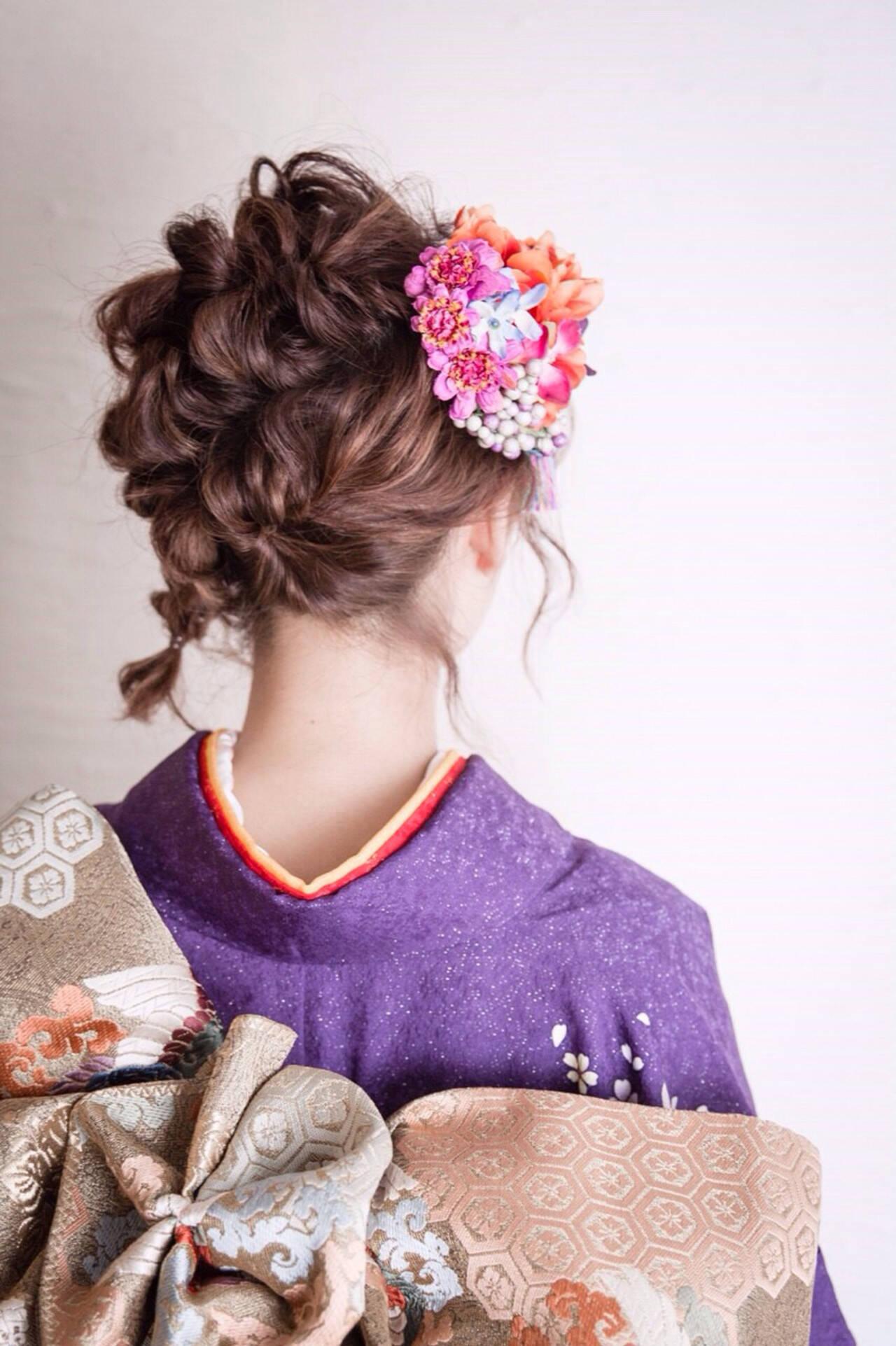 ボブ ヘアアレンジ 成人式 フェミニンヘアスタイルや髪型の写真・画像