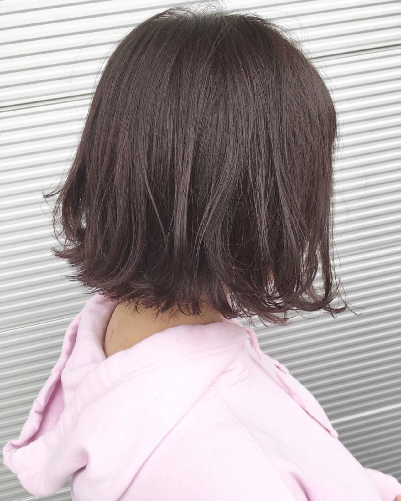 ラベンダーピンク ラベンダーアッシュ ボブ ナチュラルヘアスタイルや髪型の写真・画像