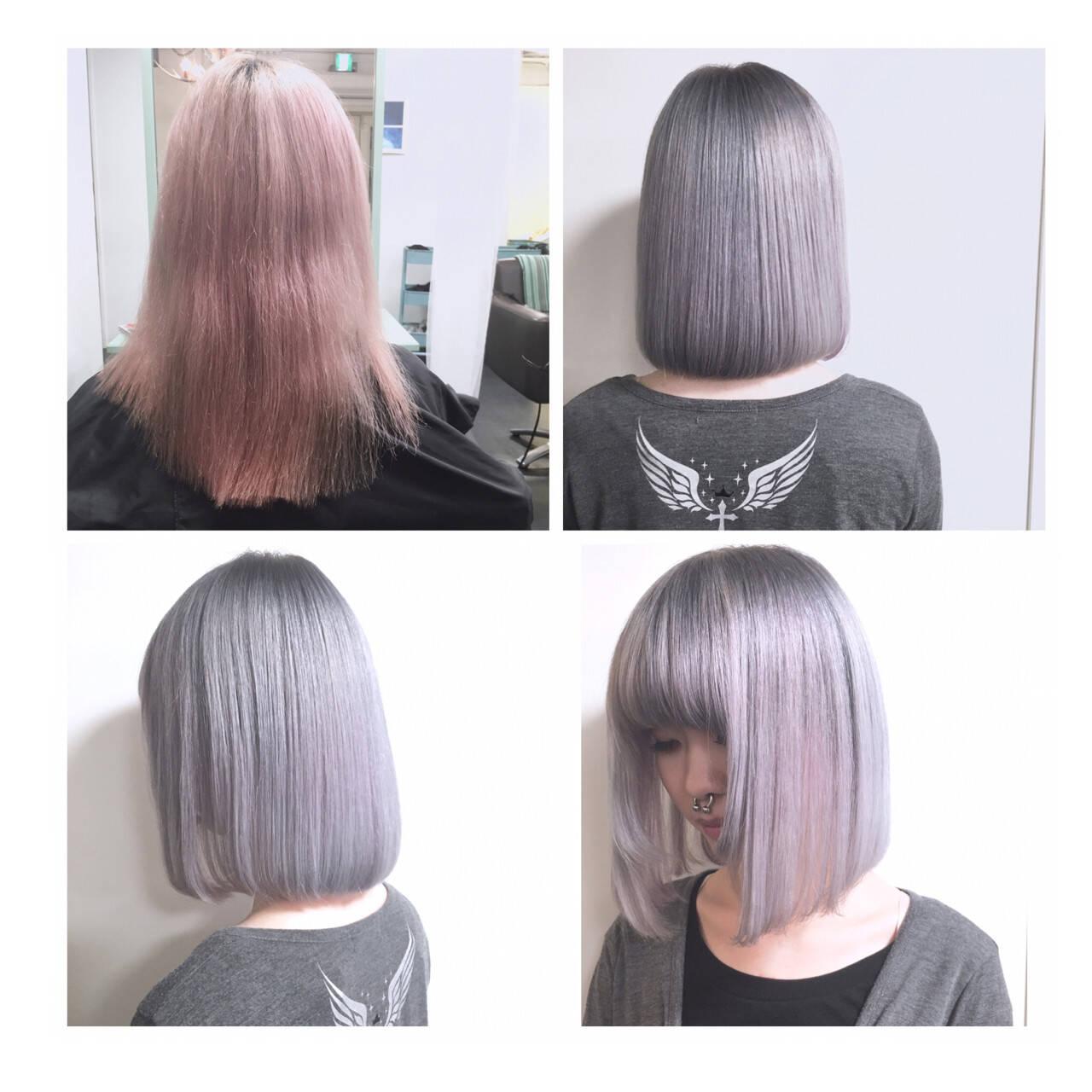 パールアクセ ハイトーン モード ボブヘアスタイルや髪型の写真・画像