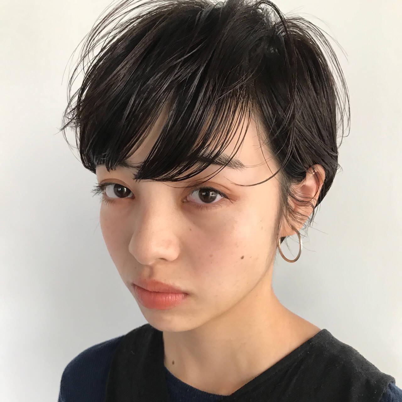 ナチュラル 前髪パーマ 前髪 ショートヘアスタイルや髪型の写真・画像