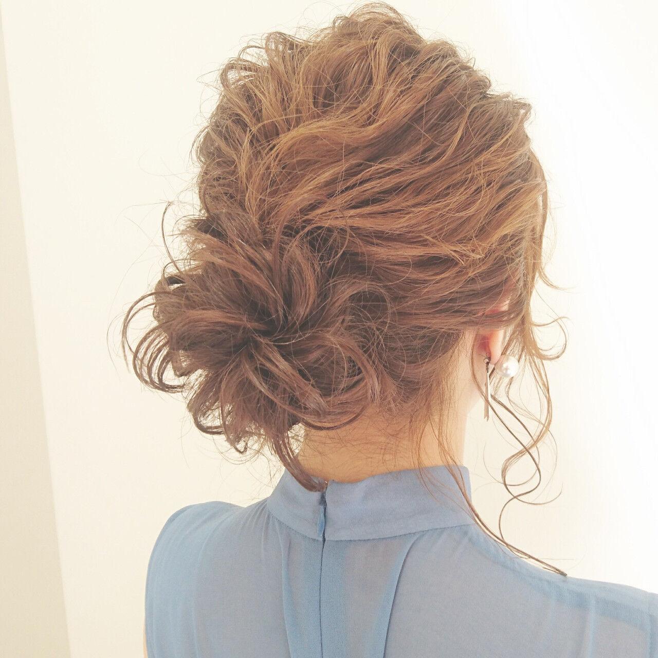 ナチュラル 結婚式 パーティ ミディアムヘアスタイルや髪型の写真・画像