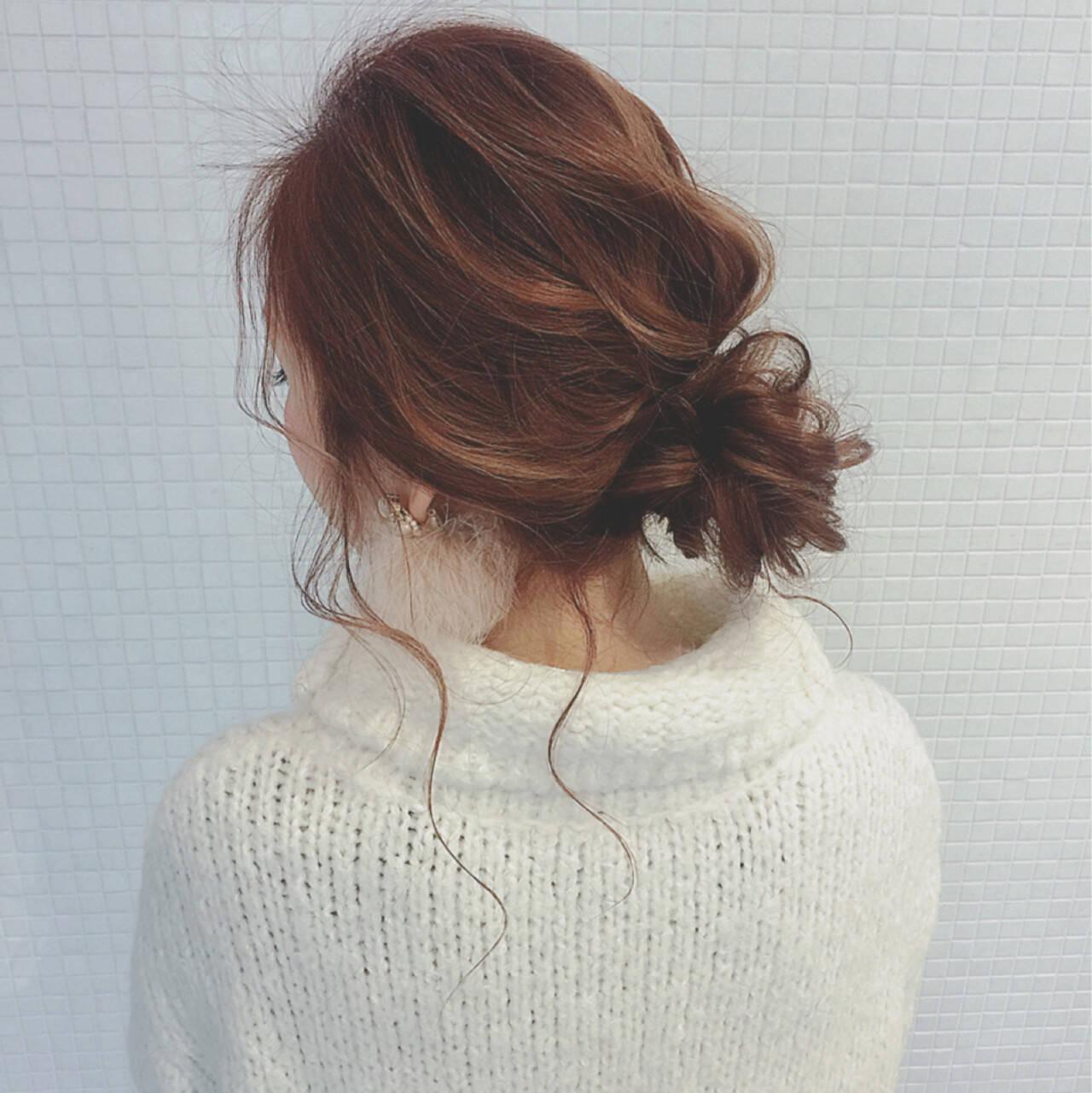 ゆるふわ フェミニン お団子 ロングヘアスタイルや髪型の写真・画像