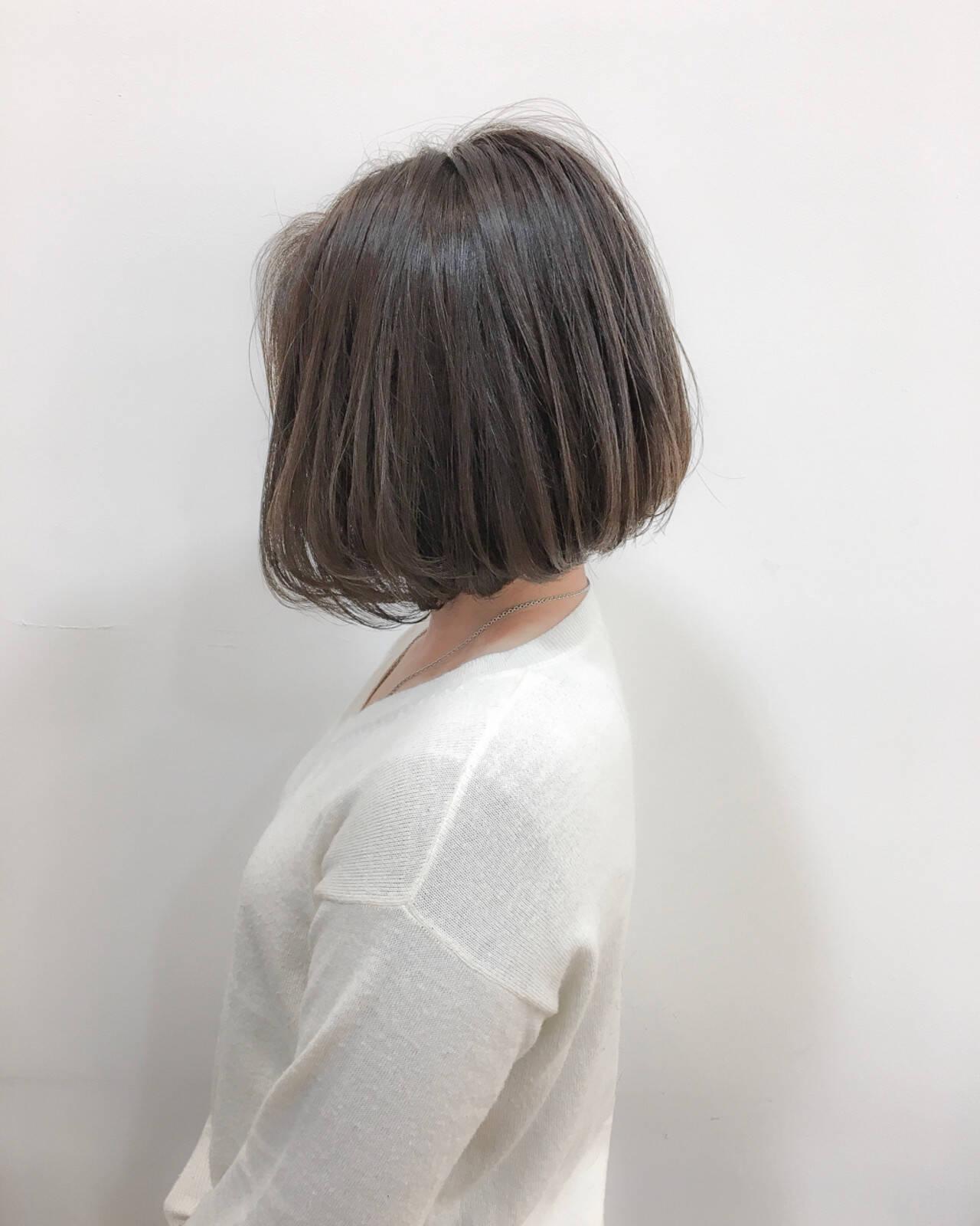 切りっぱなし エレガント 色気 ショートボブヘアスタイルや髪型の写真・画像