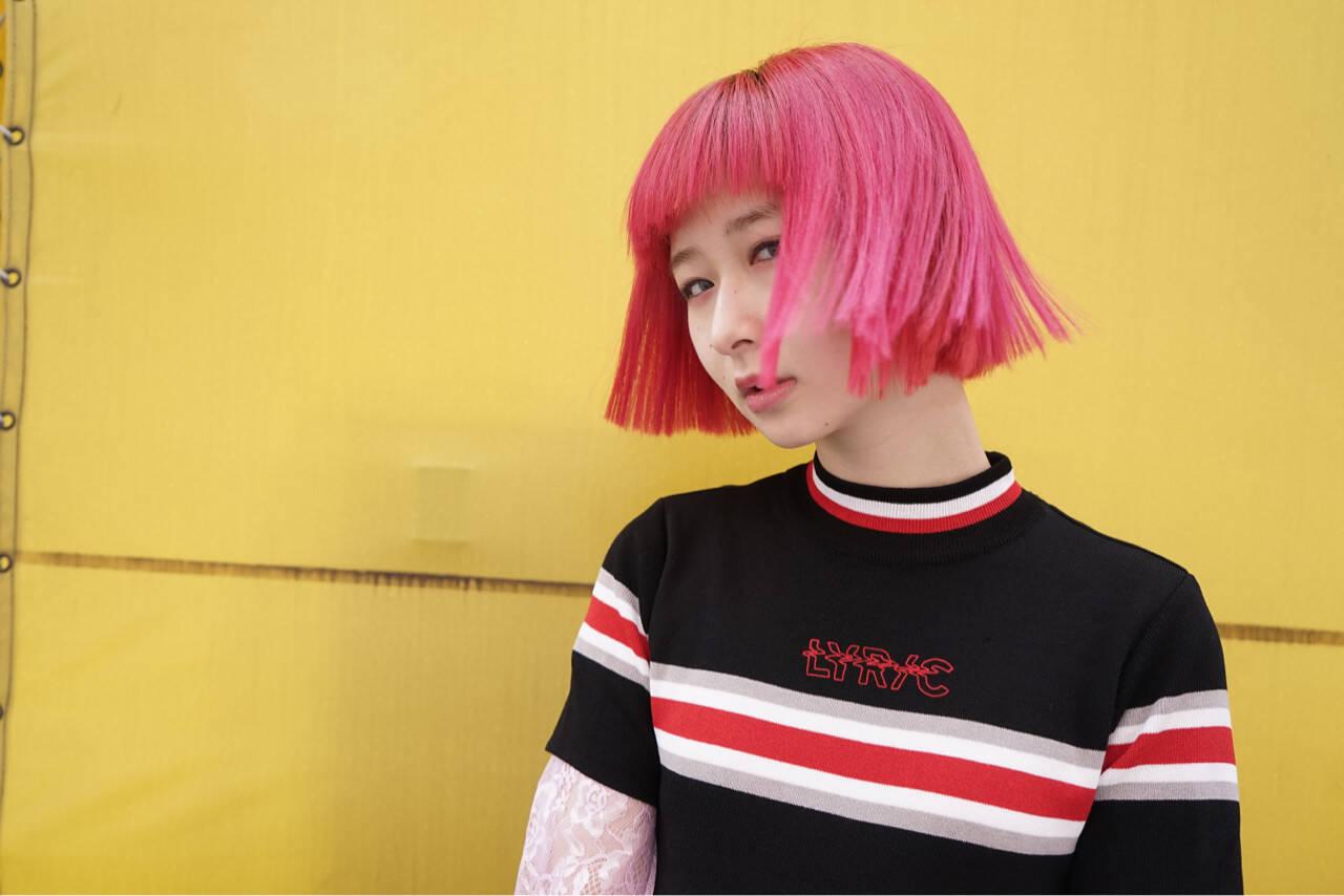 前髪あり デート ピンク モードヘアスタイルや髪型の写真・画像