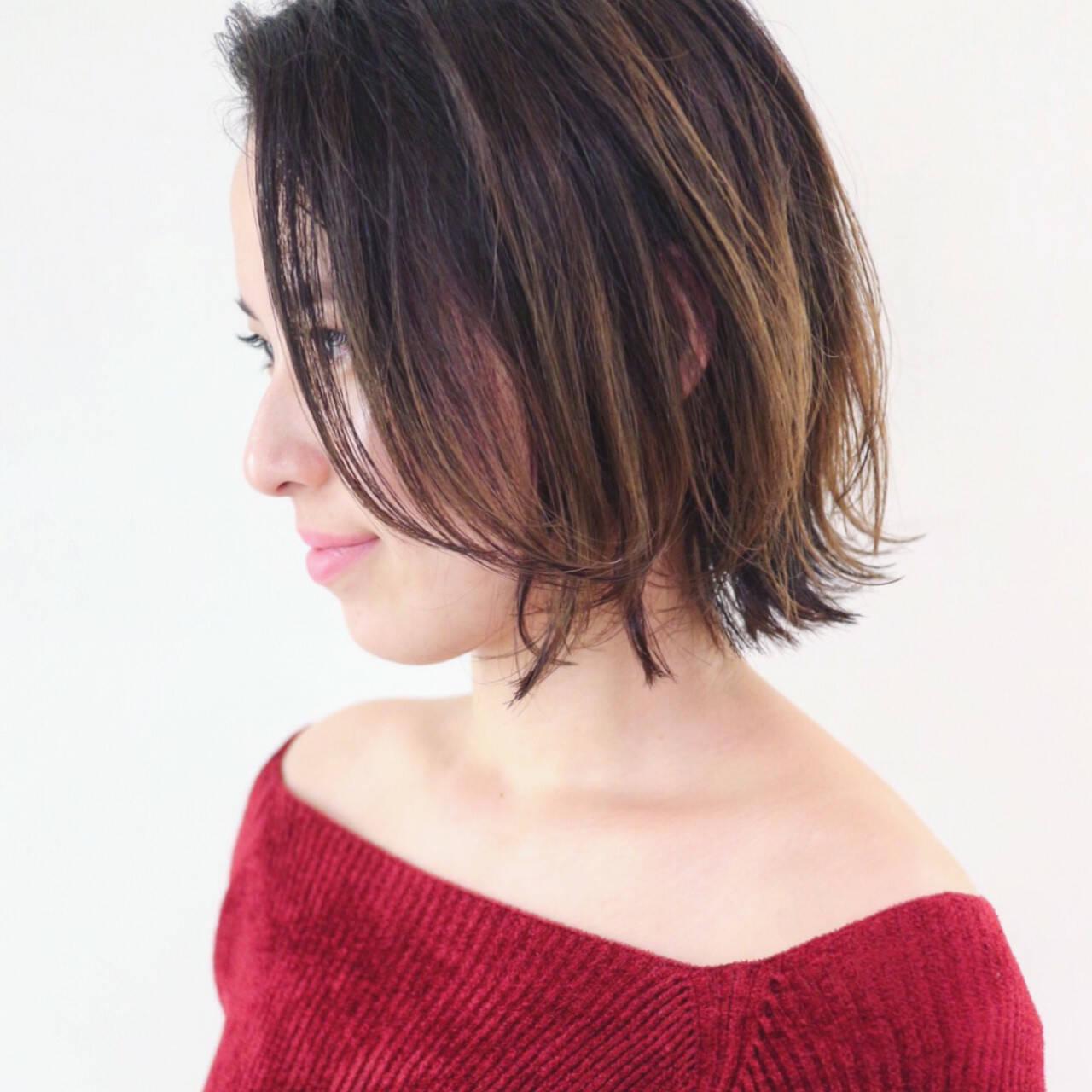 グラデーションカラー エレガント 外ハネ 上品ヘアスタイルや髪型の写真・画像