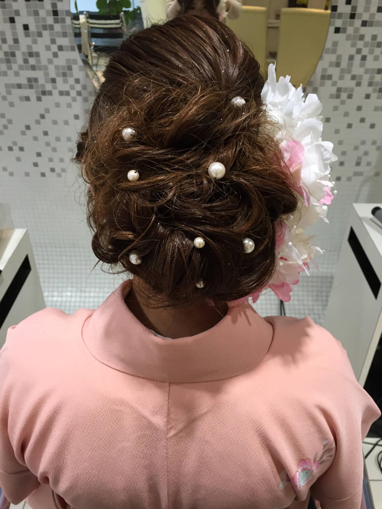 ヘアアレンジ ロング アッシュブラウンヘアスタイルや髪型の写真・画像
