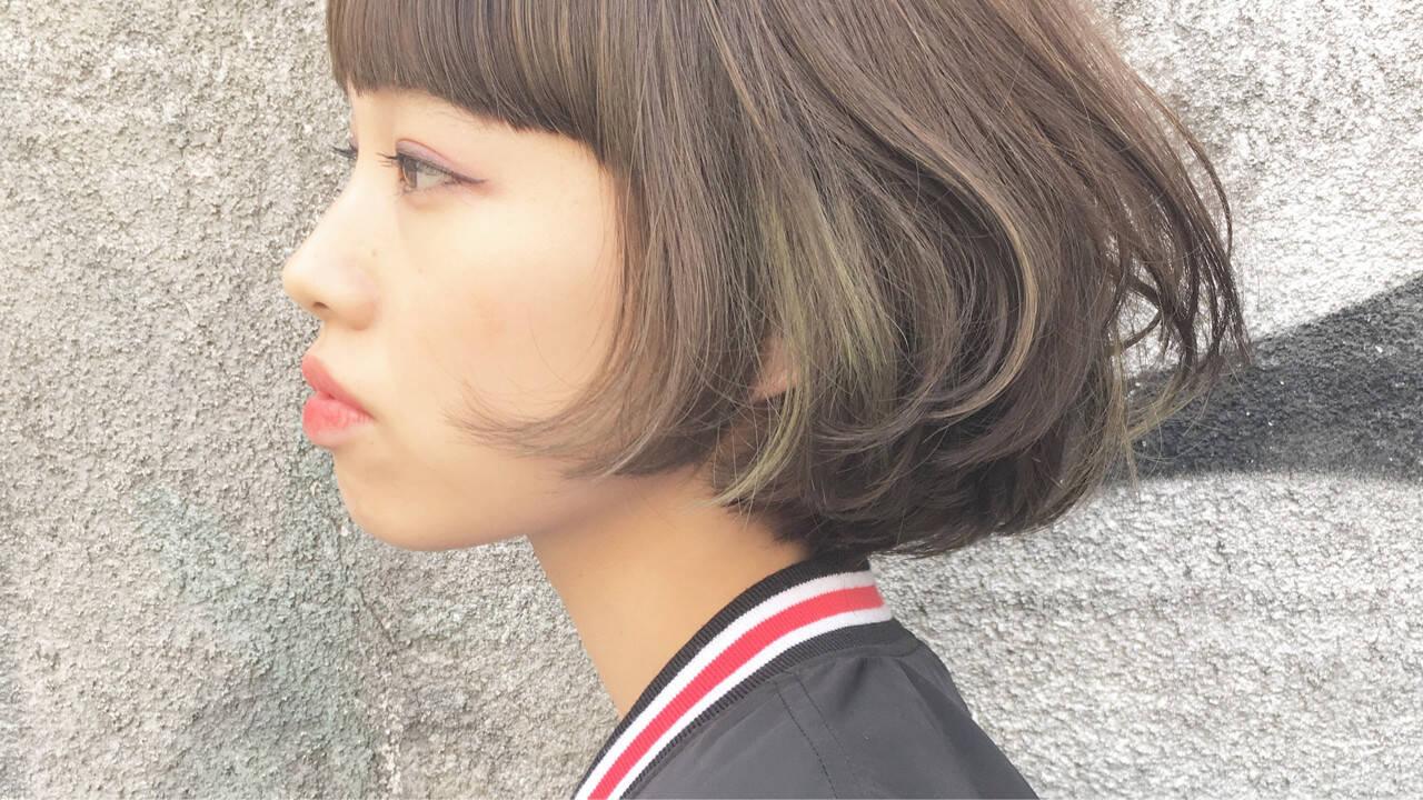 前髪あり ストリート アッシュ インナーカラーヘアスタイルや髪型の写真・画像