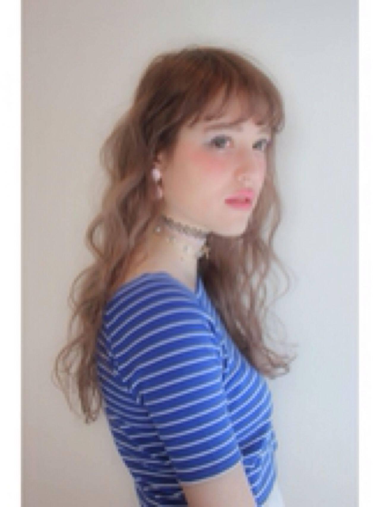 春 ロング ストリート ガーリーヘアスタイルや髪型の写真・画像