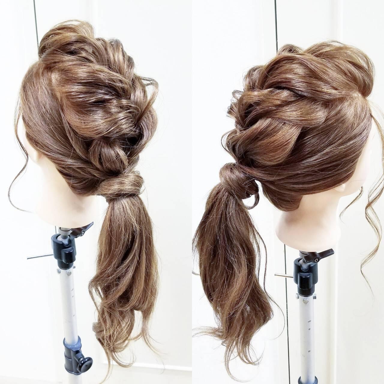 エレガント ヘアアレンジ ゆるふわ ロングヘアスタイルや髪型の写真・画像