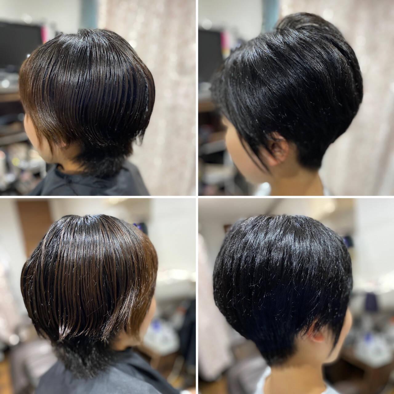 ショート 薄毛改善 ショートボブ ベリーショートヘアスタイルや髪型の写真・画像