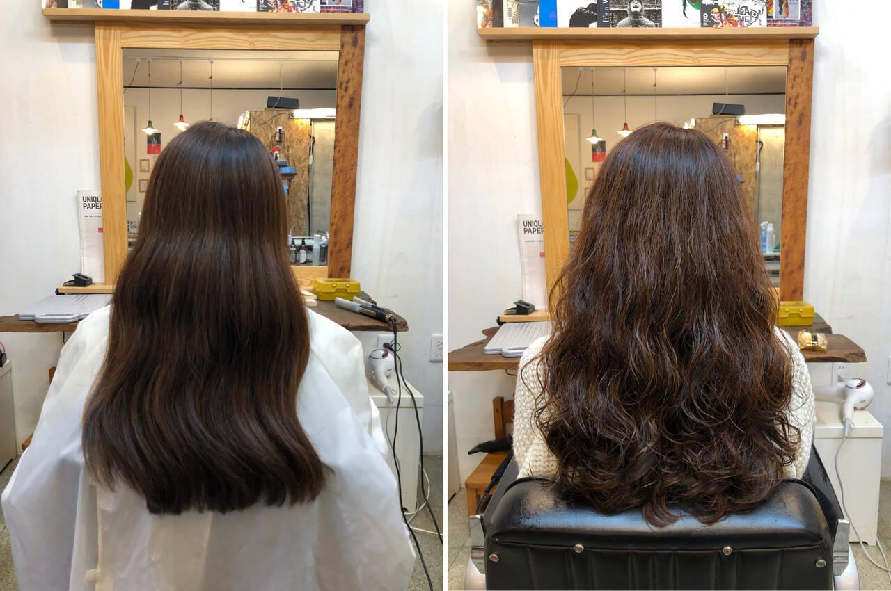 ロング ナチュラル 髪質改善 ふわふわパーマヘアスタイルや髪型の写真・画像