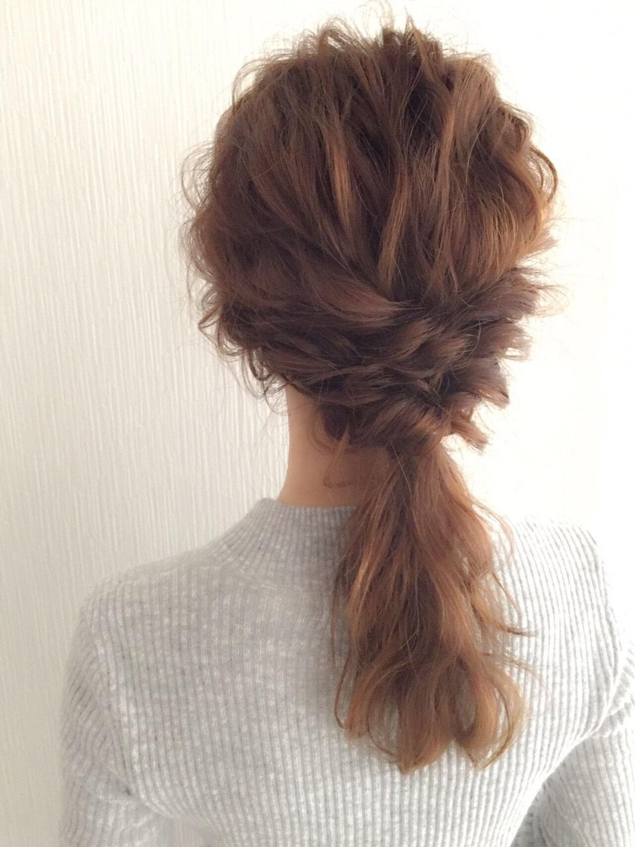 ゆるふわ ヘアアレンジ セミロング ハーフアップヘアスタイルや髪型の写真・画像