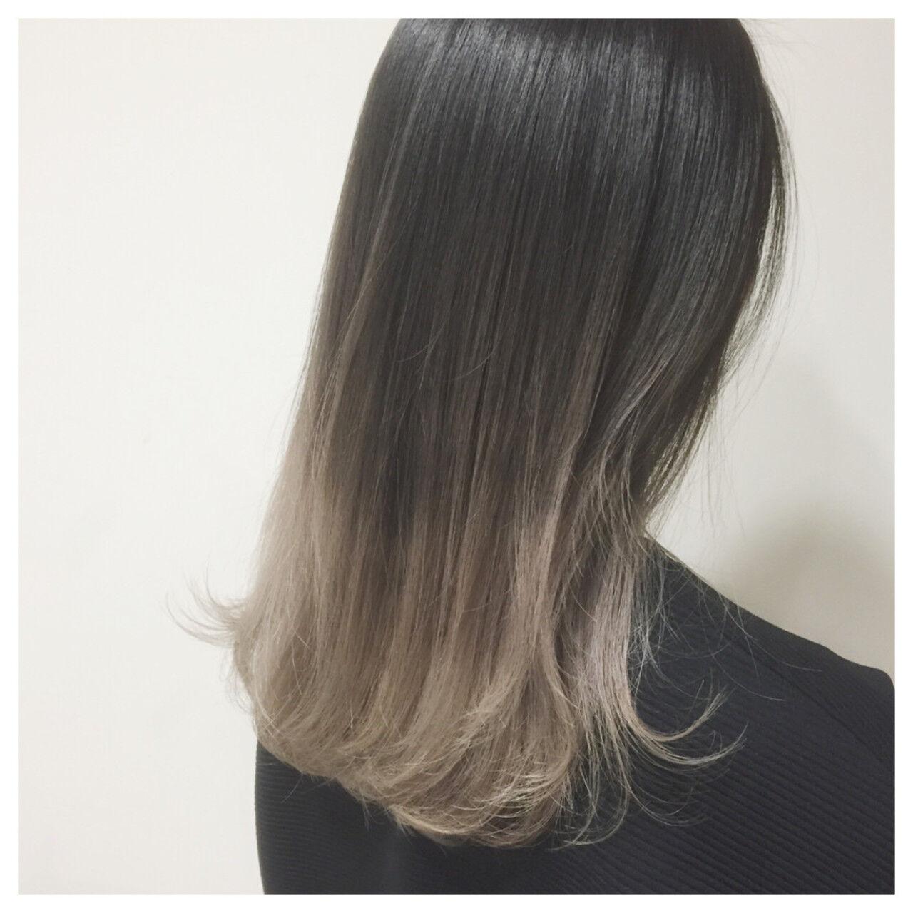 外国人風 ハイライト ストリート ミディアムヘアスタイルや髪型の写真・画像
