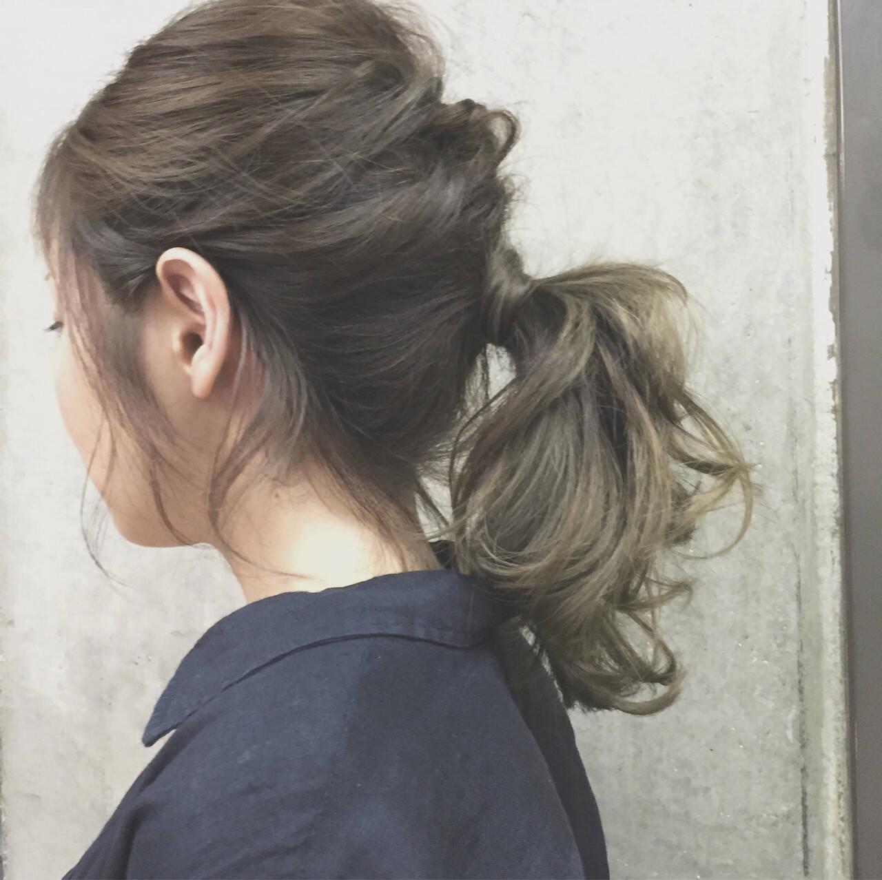 ゆるふわ ヘアアレンジ セミロング 夏ヘアスタイルや髪型の写真・画像