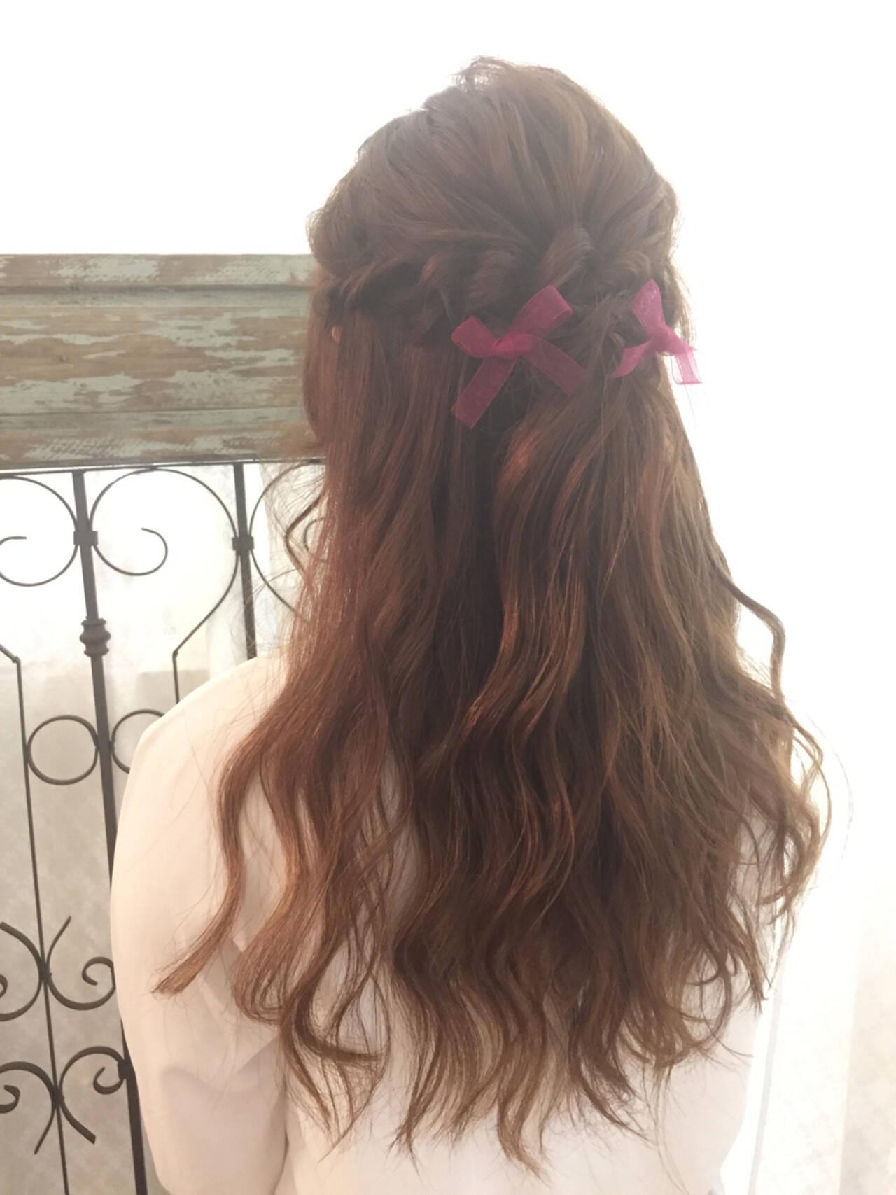 ハーフアップ ロング 簡単ヘアアレンジ 大人かわいいヘアスタイルや髪型の写真・画像