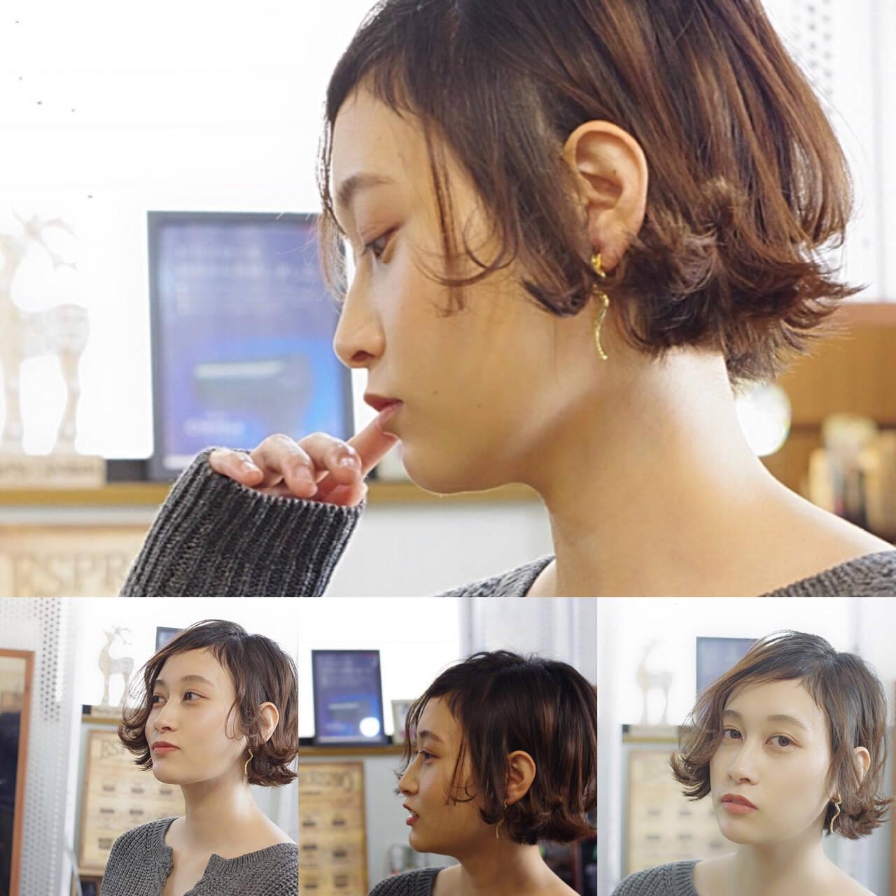 モテボブ フェミニン ボブ オフィスヘアスタイルや髪型の写真・画像