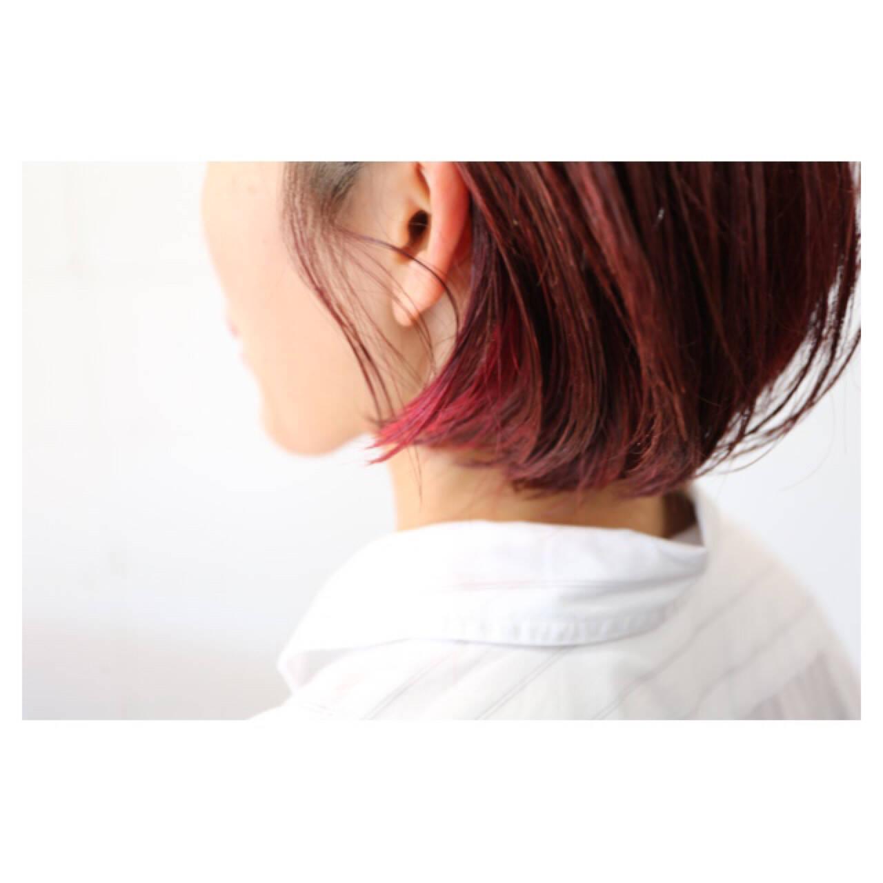 小顔 ショート ピンク こなれ感ヘアスタイルや髪型の写真・画像
