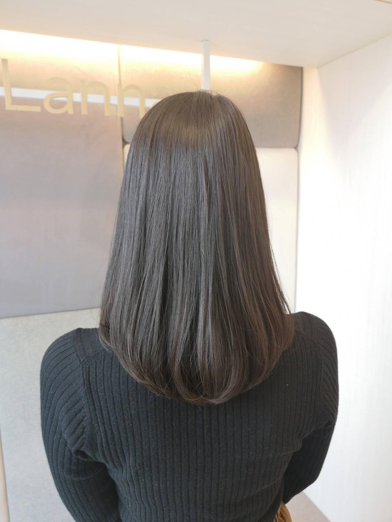 抜け感 エレガント ミディアム 黒髪ヘアスタイルや髪型の写真・画像