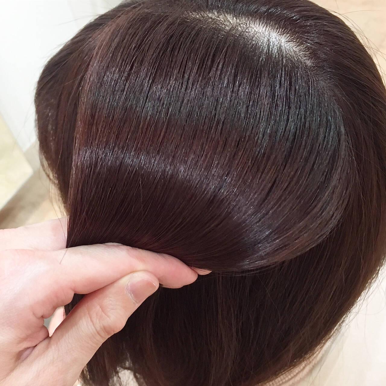 ツヤ髪 フェミニン オフィス ピンクヘアスタイルや髪型の写真・画像