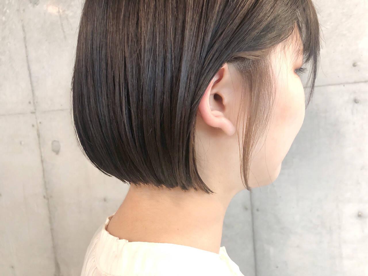 ナチュラル インナーカラー ボブ ヘアカラーヘアスタイルや髪型の写真・画像