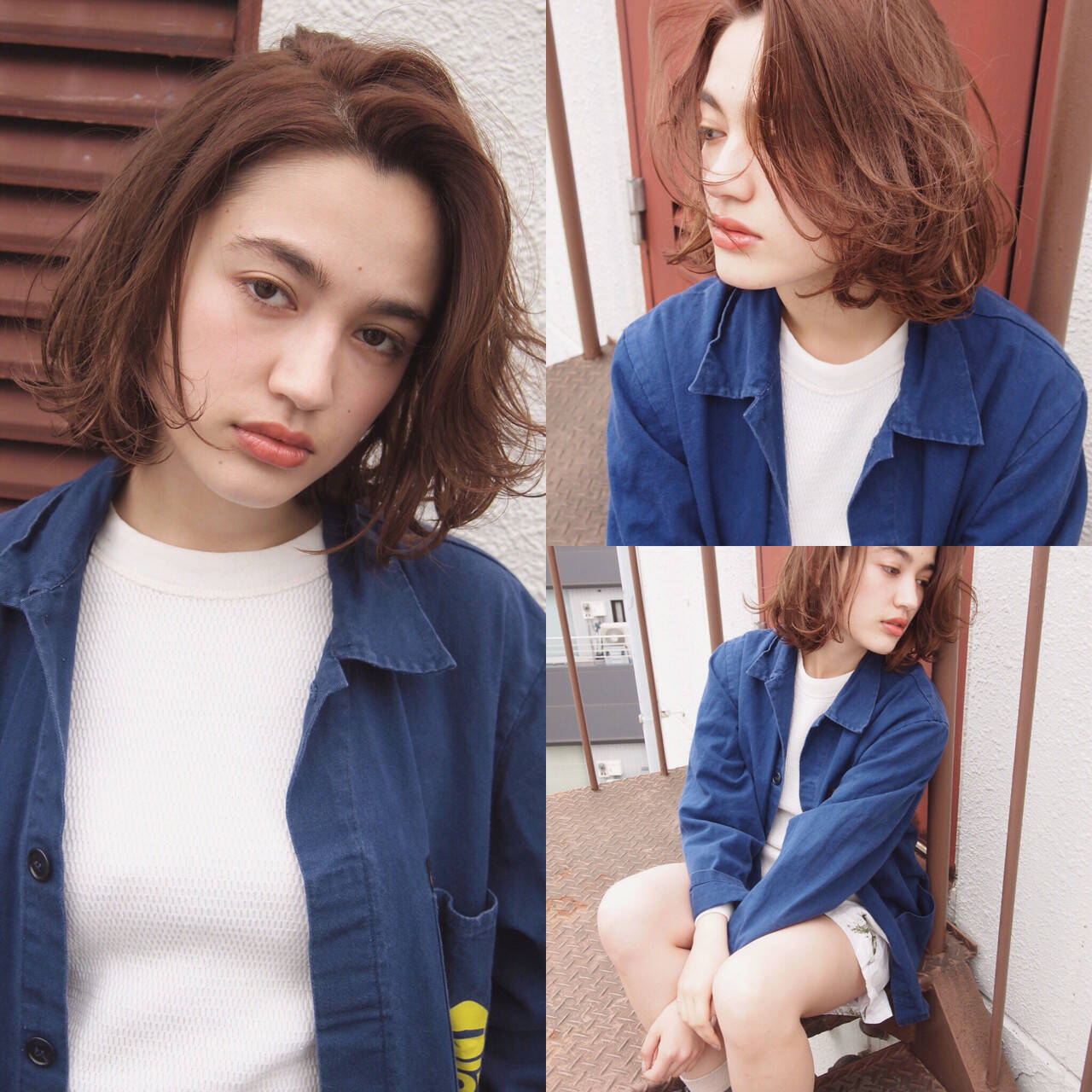 ストリート 外国人風 パーマ ボブヘアスタイルや髪型の写真・画像