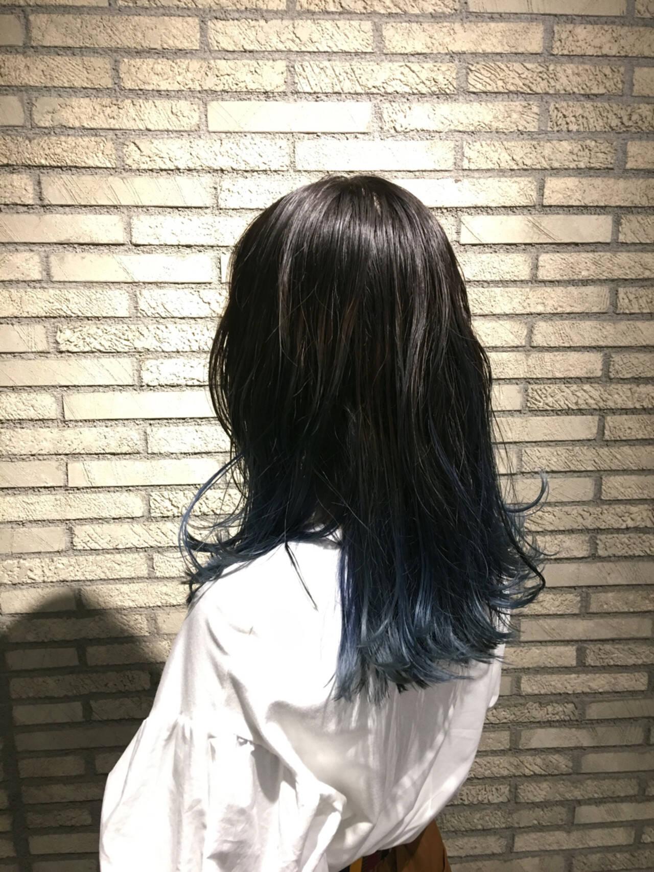 グラデーションカラー ストリート ロング ブルーヘアスタイルや髪型の写真・画像
