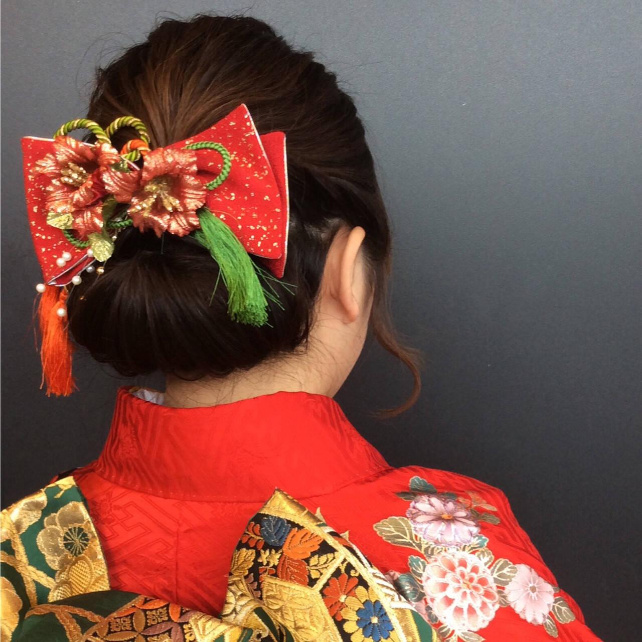 振袖 成人式 セミロング ギブソンタックヘアスタイルや髪型の写真・画像