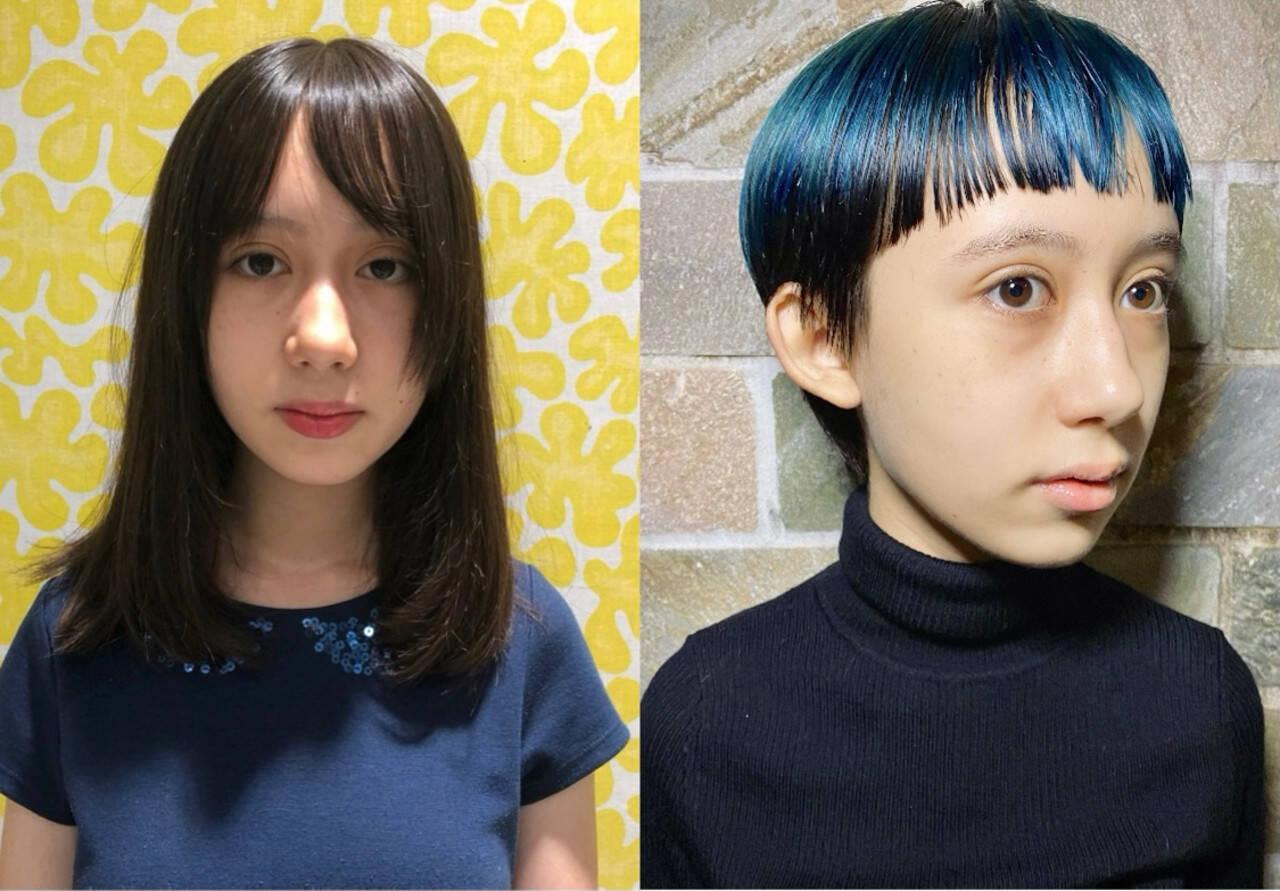ベリーショート ブルー モード マッシュショートヘアスタイルや髪型の写真・画像