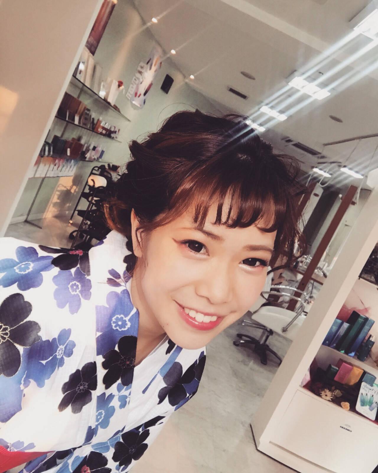 花火大会 ガーリー ミディアム 涼しげヘアスタイルや髪型の写真・画像
