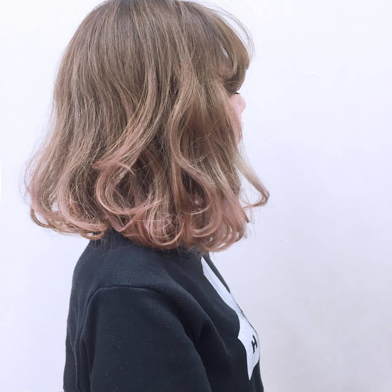 渋谷系 ストリート グラデーションカラー ピンクヘアスタイルや髪型の写真・画像