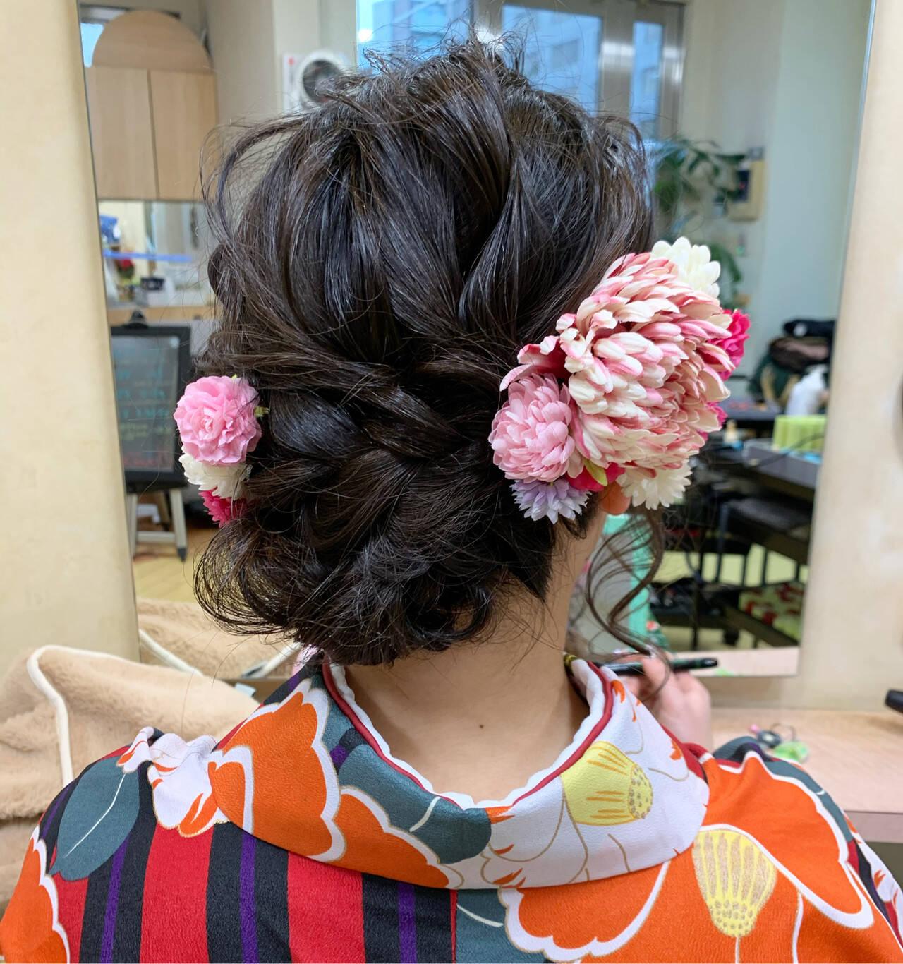 ガーリー ヘアアレンジ 卒業式 袴ヘアスタイルや髪型の写真・画像