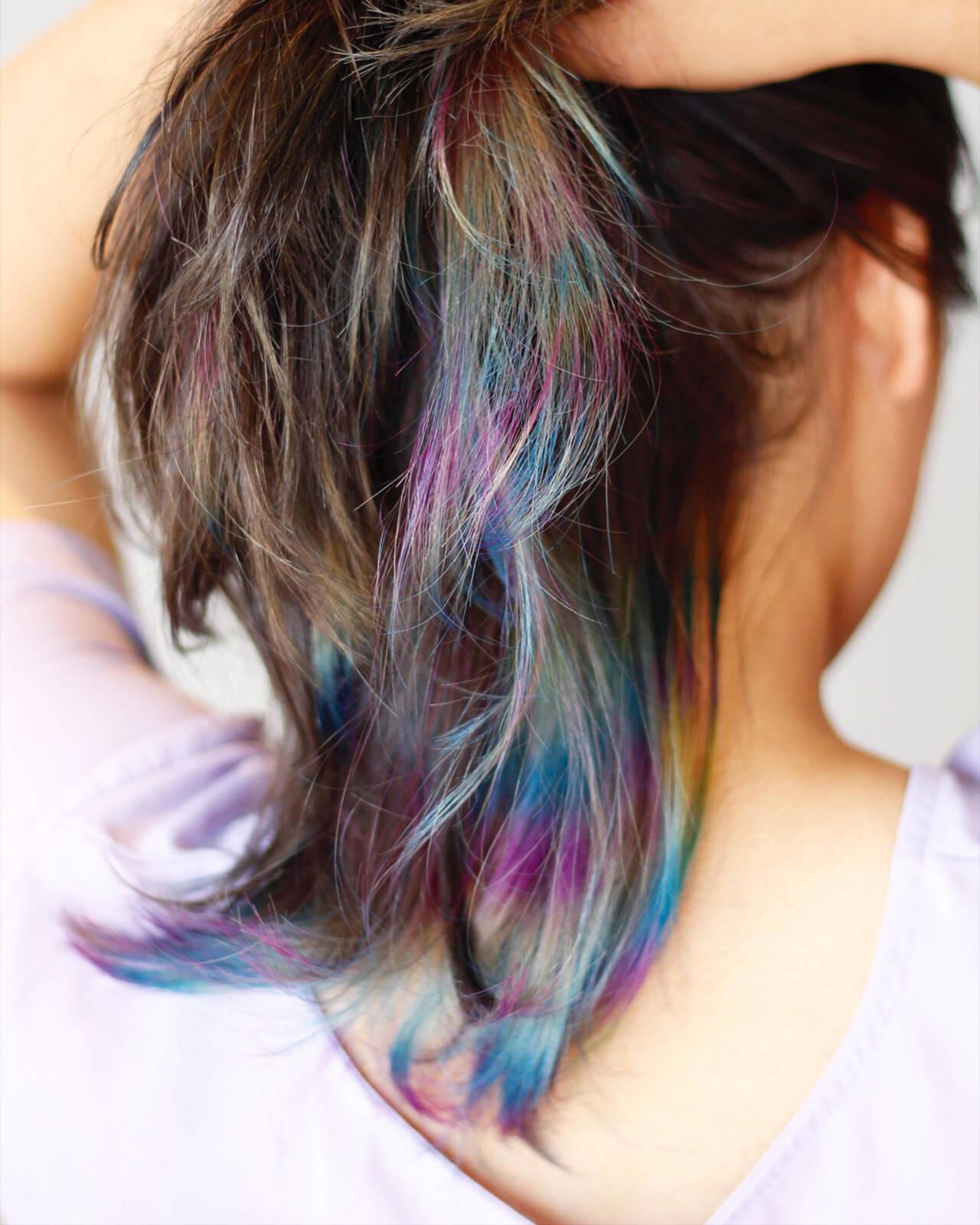 インナーカラー アッシュグレージュ ダブルカラー モードヘアスタイルや髪型の写真・画像