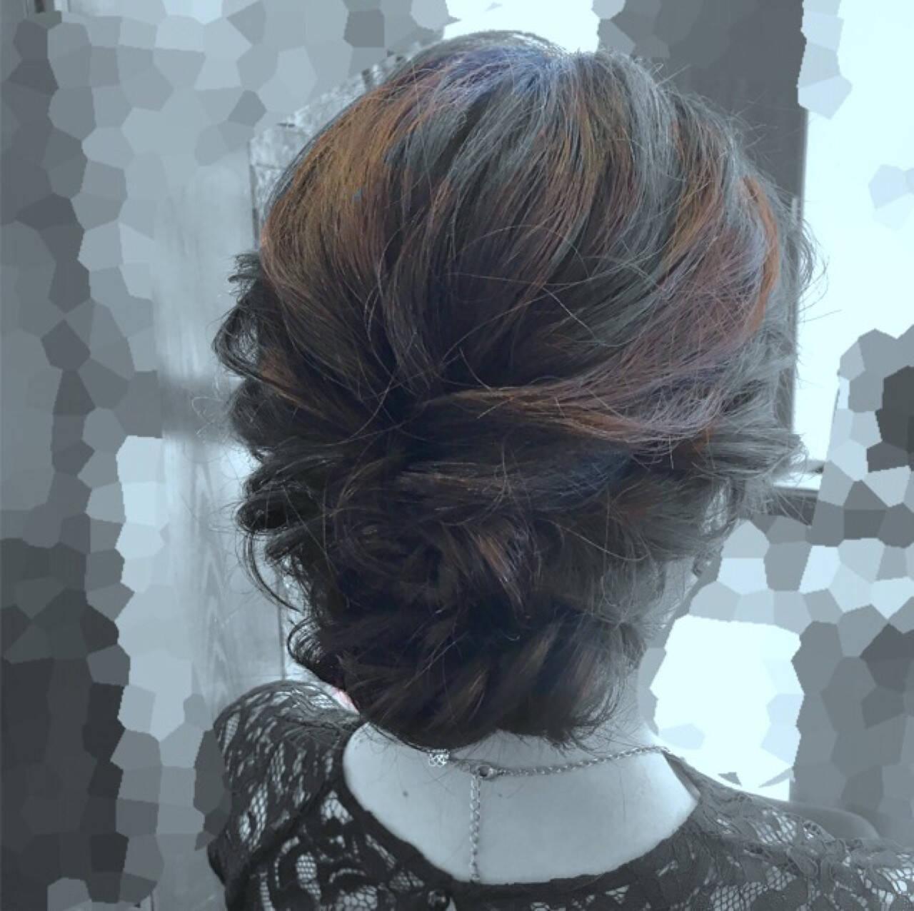 フェミニン ヘアアレンジ セミロング 結婚式ヘアスタイルや髪型の写真・画像