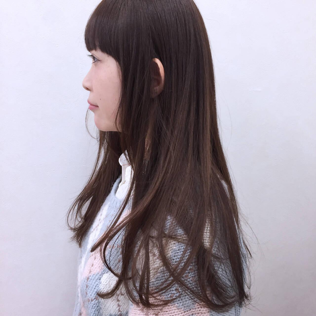 グラデーションカラー ガーリー ロング 前髪ありヘアスタイルや髪型の写真・画像