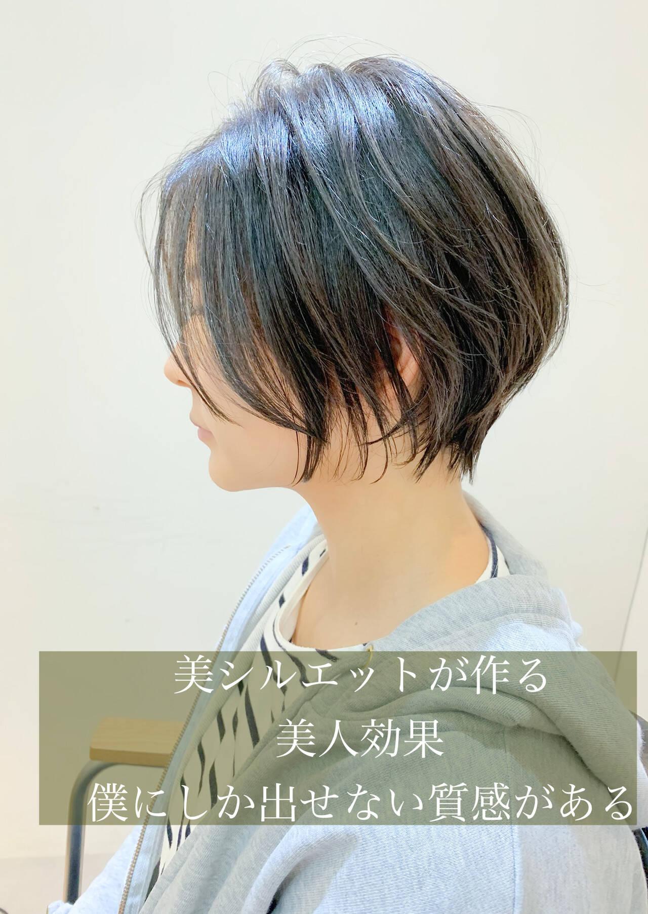 ショートボブ ミニボブ フェミニン ショートヘアスタイルや髪型の写真・画像