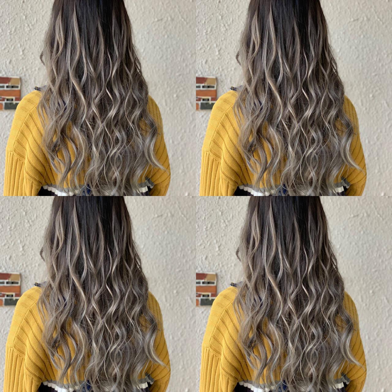 エクステ ロング グラデーションカラー 外国人風カラーヘアスタイルや髪型の写真・画像