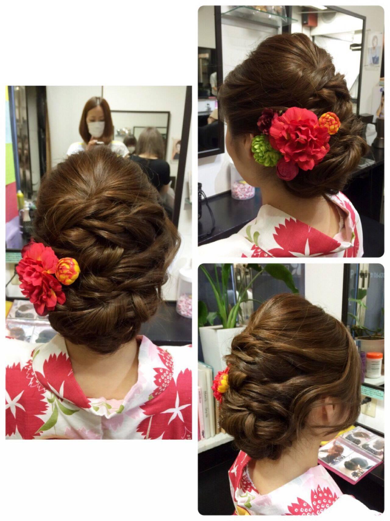 ヘアアレンジ ツイスト アップスタイル 和装ヘアスタイルや髪型の写真・画像