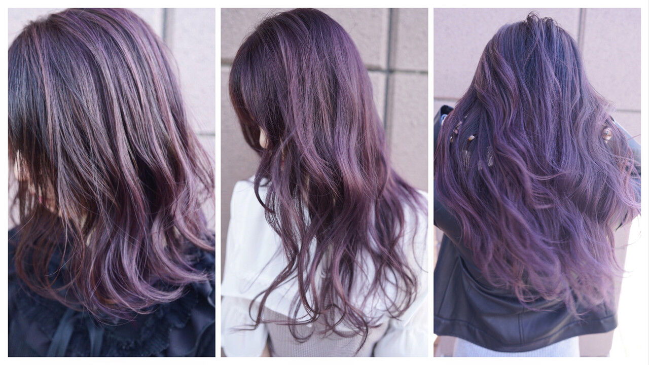 バレイヤージュ ロング グラデーションカラー ハイトーンヘアスタイルや髪型の写真・画像