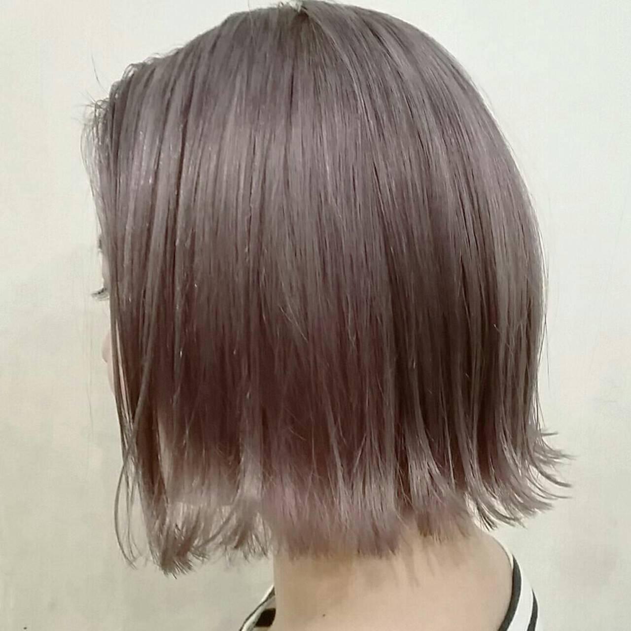 春 モード ボブ アッシュグレージュヘアスタイルや髪型の写真・画像