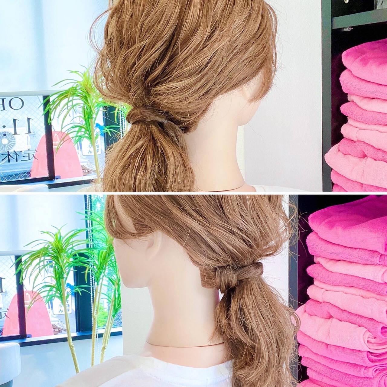 ローポニーテール 簡単ヘアアレンジ ヘアアレンジ ポニーテールヘアスタイルや髪型の写真・画像