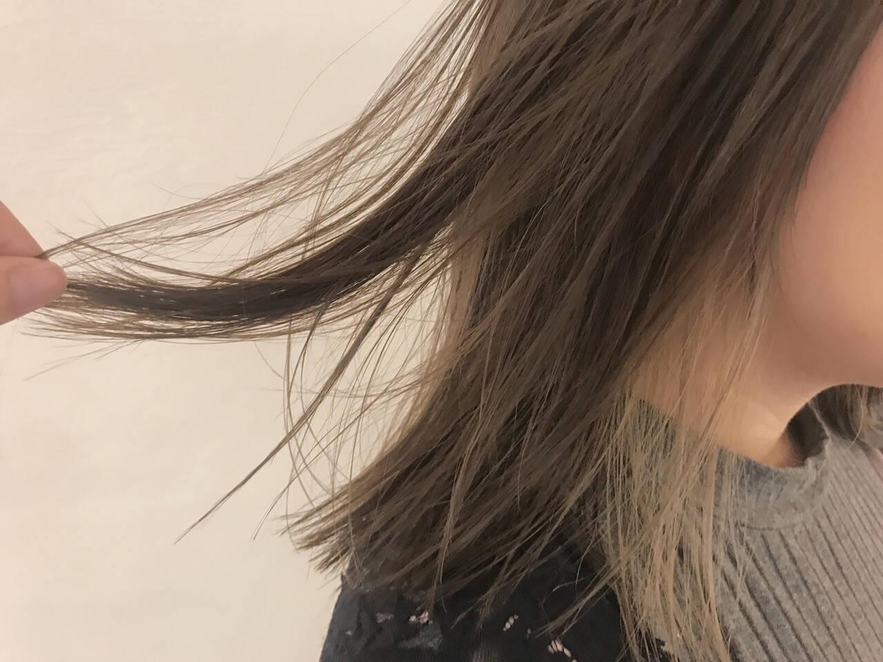 切りっぱなし ストレート ミディアム インナーカラーヘアスタイルや髪型の写真・画像