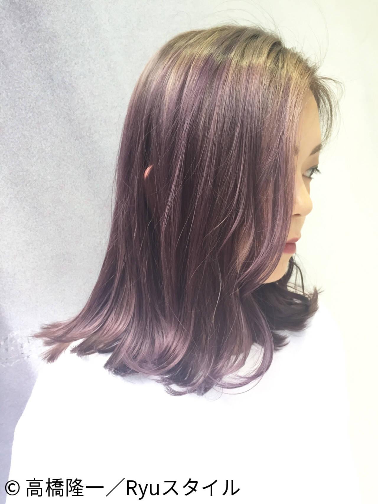 アッシュバイオレット ストリート グラデーションカラー ピンクヘアスタイルや髪型の写真・画像