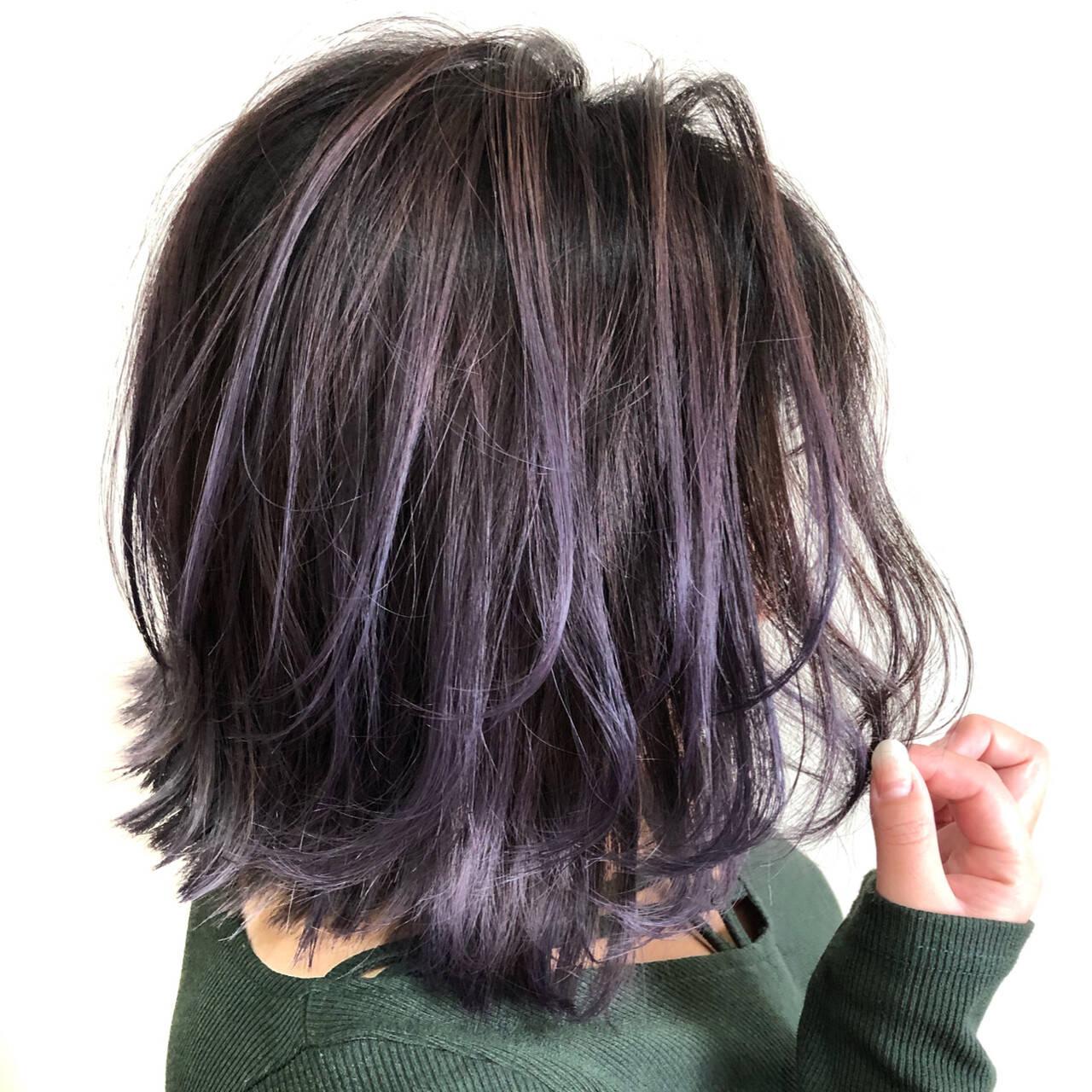 外国人風カラー フェミニン ピンクパープル バレイヤージュヘアスタイルや髪型の写真・画像