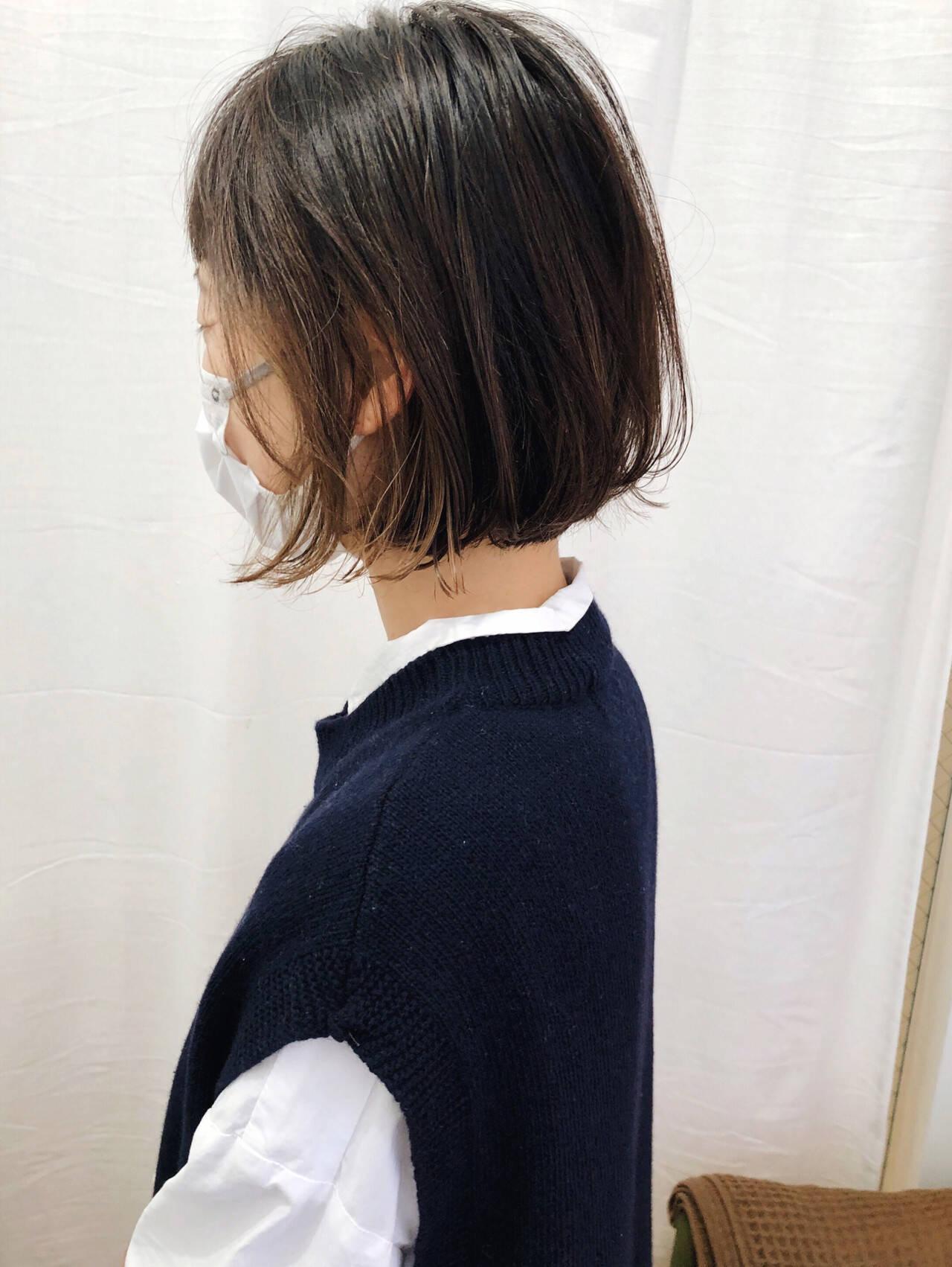 グラデーションカラー ナチュラル 切りっぱなしボブ インナーカラーヘアスタイルや髪型の写真・画像