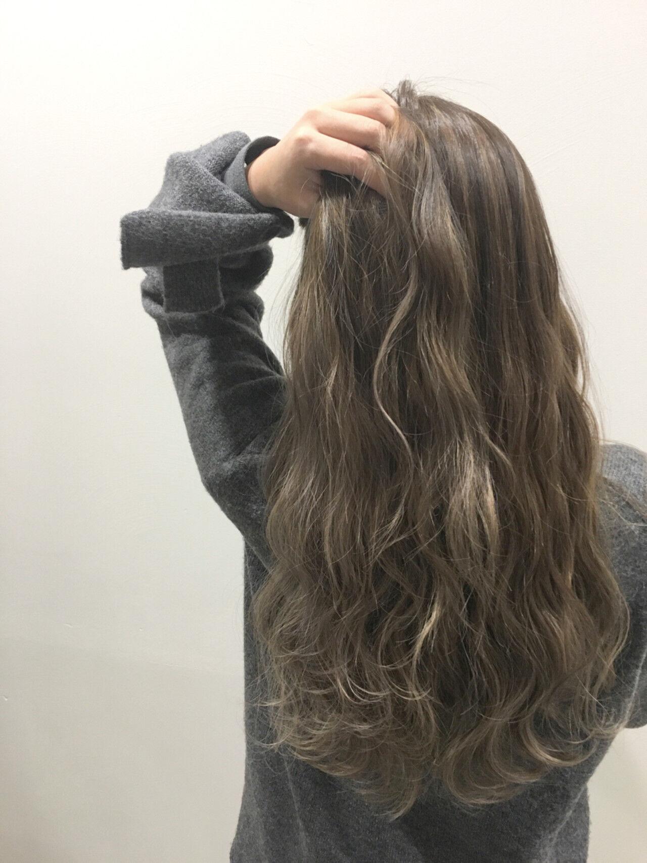 グラデーションカラー ヘアアレンジ ロング アッシュヘアスタイルや髪型の写真・画像